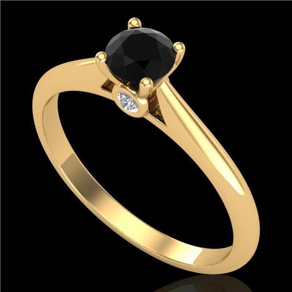 0.4 ctw Fancy Black Diamond Engagment Art Deco Ring 18k Yellow Gold - REF-25G2W