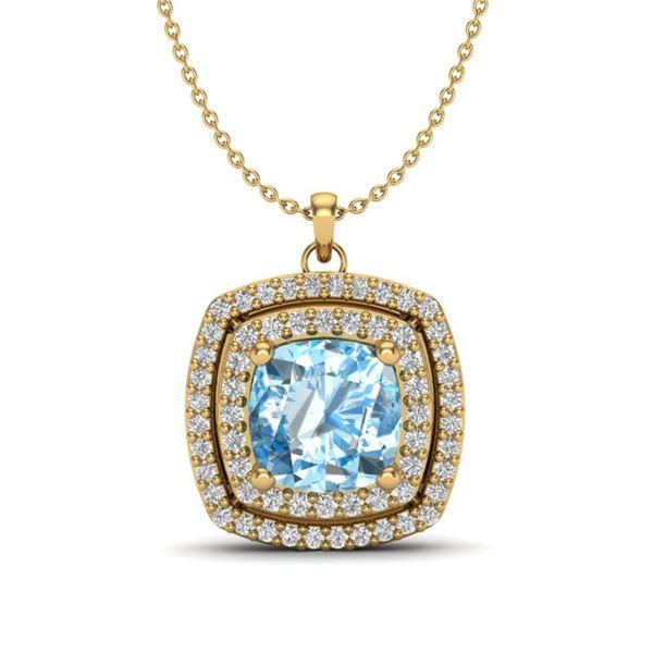 2.08 ctw Sky Blue Topaz & Micro Pave Diamond Necklace 18k Yellow Gold - REF-51Y4X