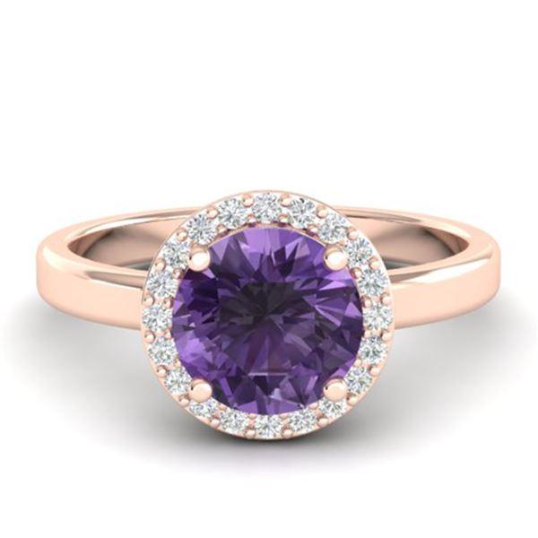 2 ctw Amethyst & Halo VS/SI Diamond Micro Pave Ring 14k Rose Gold - REF-30F2M