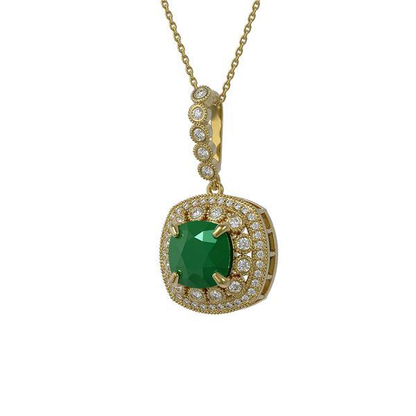 6.58 ctw Certified Emerald & Diamond Victorian Necklace 14K Yellow Gold - REF-209G3W