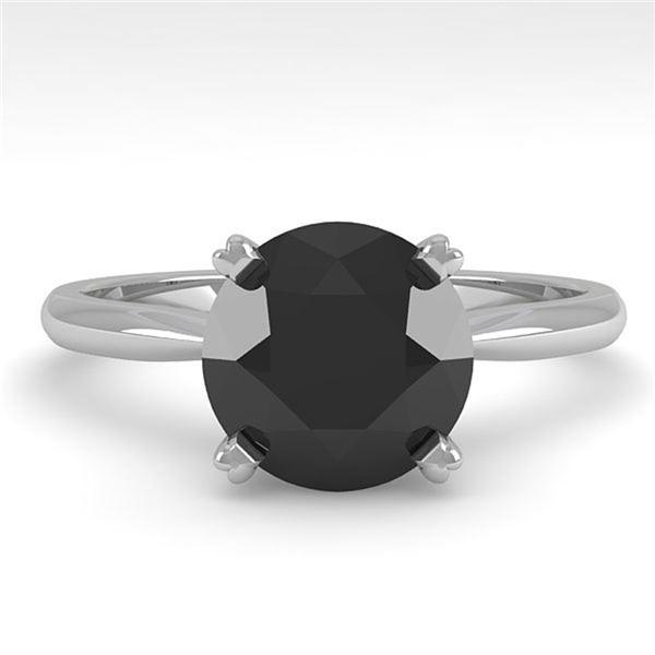 2.0 ctw Black Diamond Engagment Designer Ring 18k White Gold - REF-50G2W