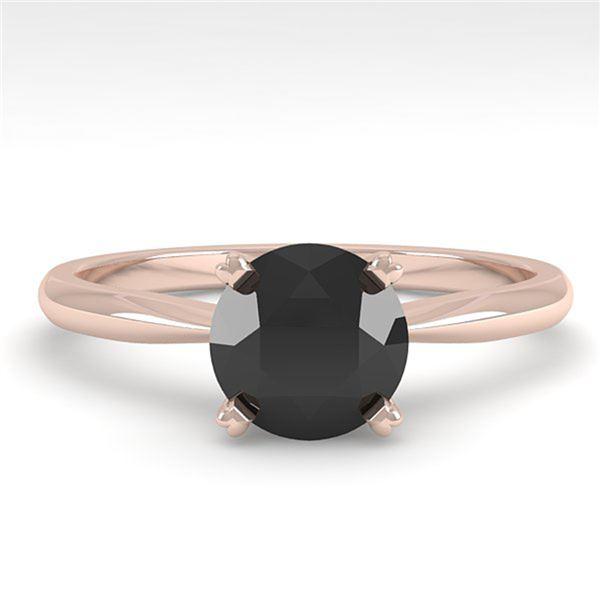 1.0 ctw Black Diamond Engagment Designer Ring 14k Rose Gold - REF-26H4R