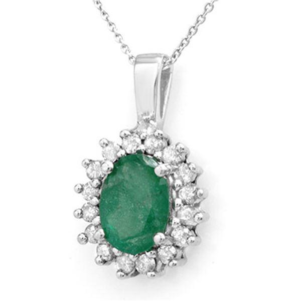 3.48 ctw Emerald & Diamond Pendant 14k White Gold - REF-55X2A