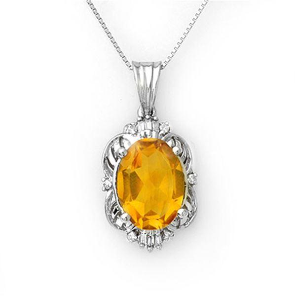 5.80 ctw Citrine & Diamond Necklace 10k White Gold - REF-33H8R