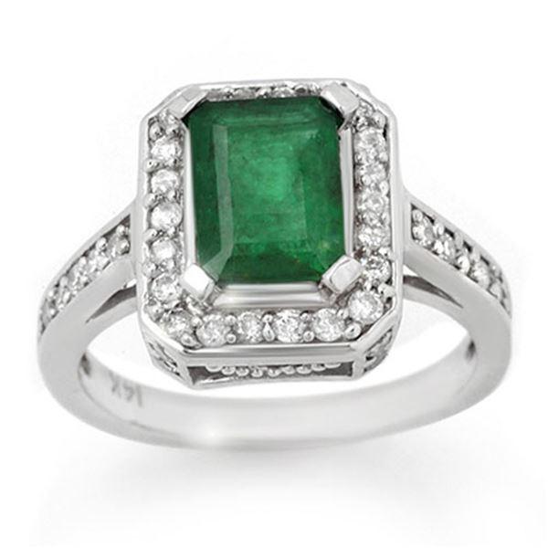 2.0 ctw Emerald & Diamond Ring 14k White Gold - REF-55W2H