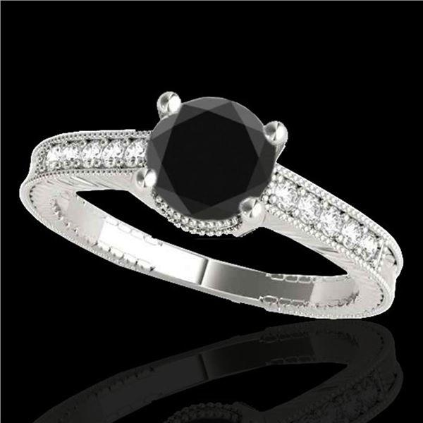 1.2 ctw Certified VS Black Diamond Solitaire Antique Ring 10k White Gold - REF-39W5H