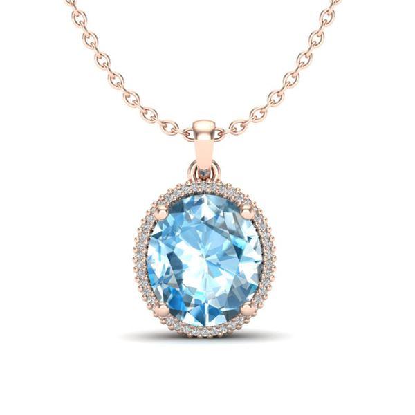 12 ctw Sky Blue Topaz & Micro VS/SI Diamond Necklace 14k Rose Gold - REF-50H6R
