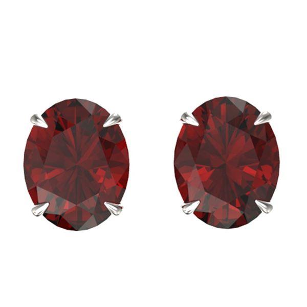 7 ctw Garnet Designer Stud Earrings 18k White Gold - REF-26W2H