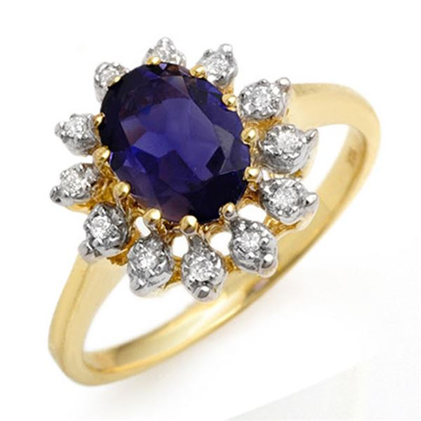 1.22 ctw Iolite & Diamond Ring 10k Yellow Gold - REF-22W9H