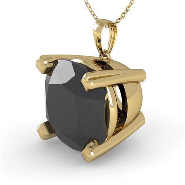 6.0 ctw Cushion Black Diamond Designer Necklace 14k Yellow Gold - REF-108X3A