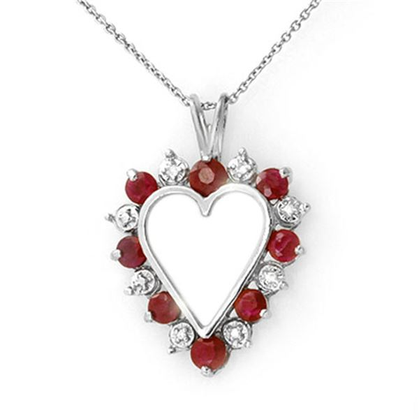 1.01 ctw Ruby & Diamond Pendant 18k White Gold - REF-31H8R