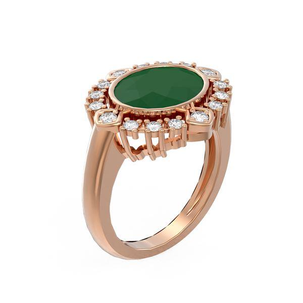 4.54 ctw Emerald & Diamond Ring 18K Rose Gold - REF-154G5W