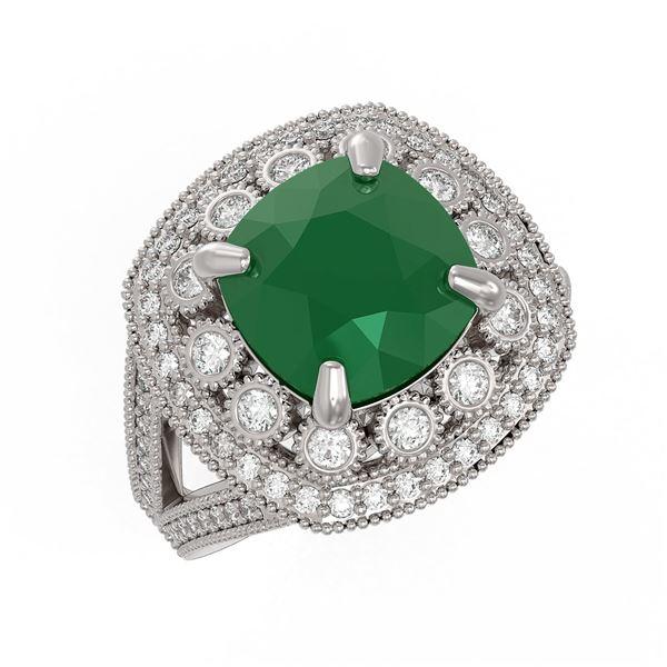 6.47 ctw Certified Emerald & Diamond Victorian Ring 14K White Gold - REF-178Y2X