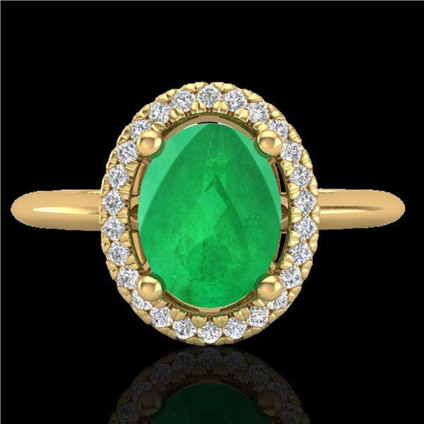 2 ctw Emerald & Micro Pave VS/SI Diamond Ring Halo 18k Yellow Gold - REF-44W3H