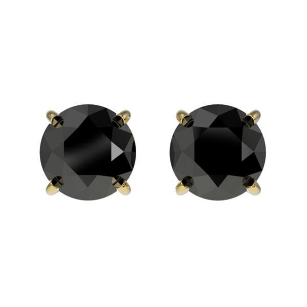 1 ctw Fancy Black Diamond Solitaire Stud Earrings 10k Yellow Gold - REF-20F6M