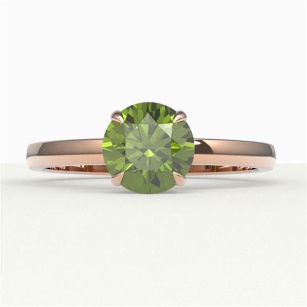 2 ctw Green Tourmaline Designer Engagment Ring 14k Rose Gold - REF-40F9M