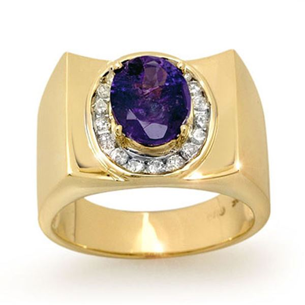 2.83 ctw Tanzanite & Diamond Men's Ring 10k Yellow Gold - REF-83M8G