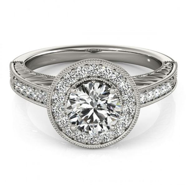 0.81 ctw Certified VS/SI Diamond Halo Ring 18k White Gold - REF-80H5R