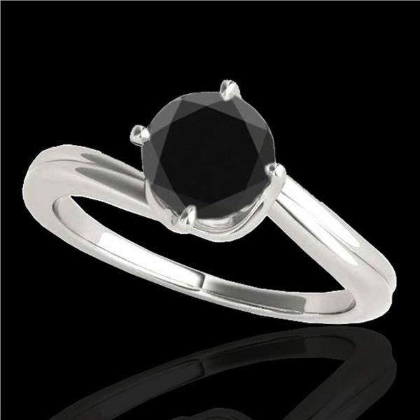 1 ctw Certified VS Black Diamond Bypass Solitaire Ring 10k White Gold - REF-33R5K