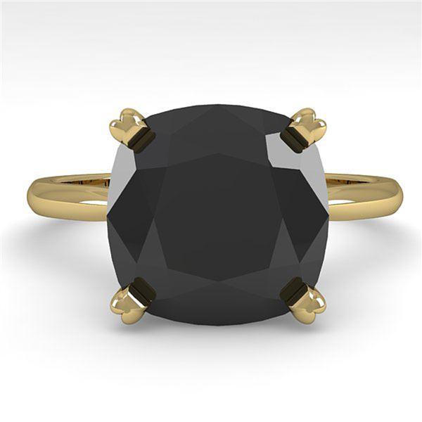 6.0 ctw Cushion Black Diamond Engagment Designer Ring 14k Yellow Gold - REF-148G5W