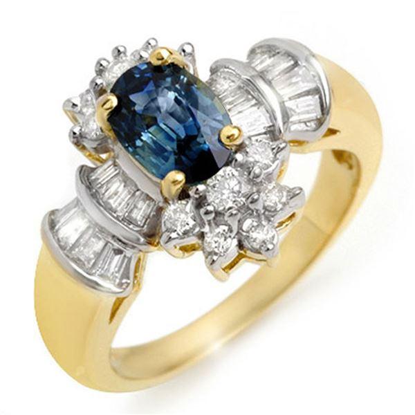 2.25 ctw Blue Sapphire & Diamond Ring 14k Yellow Gold - REF-89G3W
