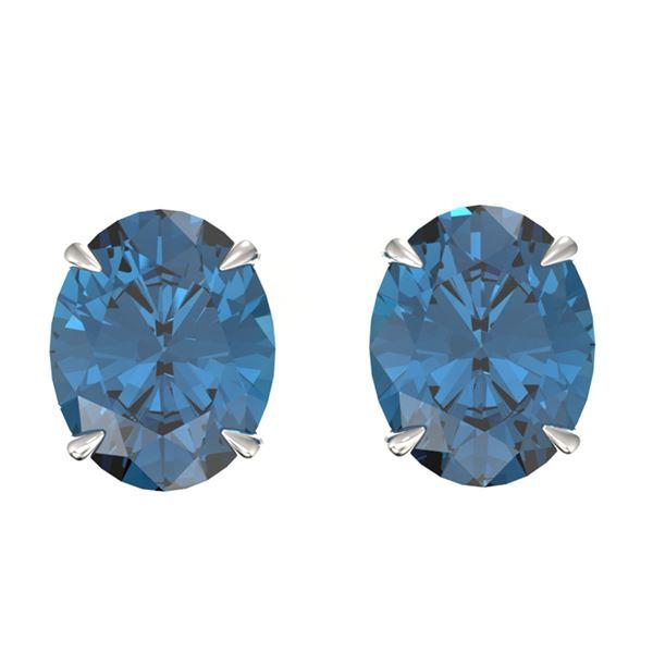 7 ctw London Blue Topaz Designer Stud Earrings 18k White Gold - REF-28G3W
