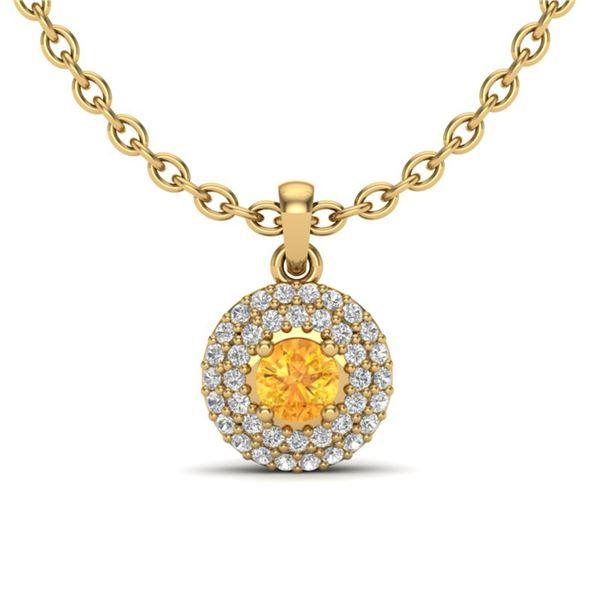 0.60 ctw Citrine & Micro VS/SI Diamond Necklace Halo 18k Yellow Gold - REF-40G2W