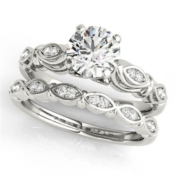 0.52 ctw Certified VS/SI Diamond 2pc Wedding Set Antique 14k White Gold - REF-75H2R
