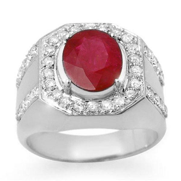 4.75 ctw Ruby & Diamond Men's Ring 10k White Gold - REF-123W6H
