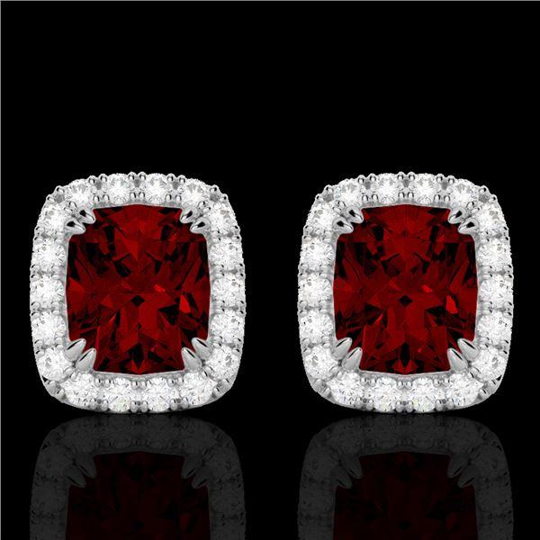2.50 ctw Garnet & Micro Pave VS/SI Diamond Earrings 10k White Gold - REF-34N3F