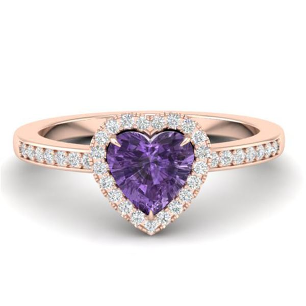 1 ctw Amethyst & Micro Pave Ring Heart Halo 14k Rose Gold - REF-25H2R
