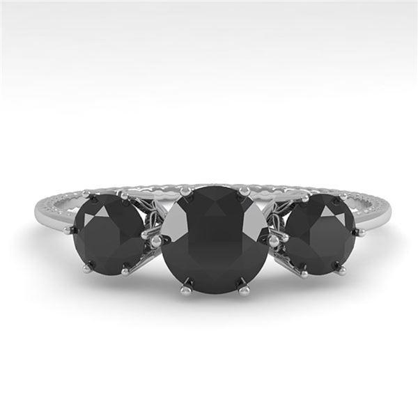1 ctw Past Present Future Black Diamond Ring 18k White Gold - REF-52W5H