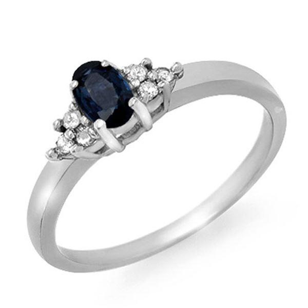 0.42 ctw Blue Sapphire & Diamond Ring 10k White Gold - REF-14K8Y