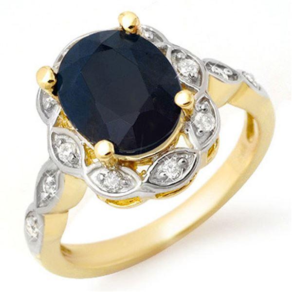 4.15 ctw Blue Sapphire & Diamond Ring 14k Yellow Gold - REF-46Y5X