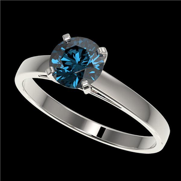 1 ctw Certified Intense Blue Diamond Engagment Ring 10k White Gold - REF-97W2H