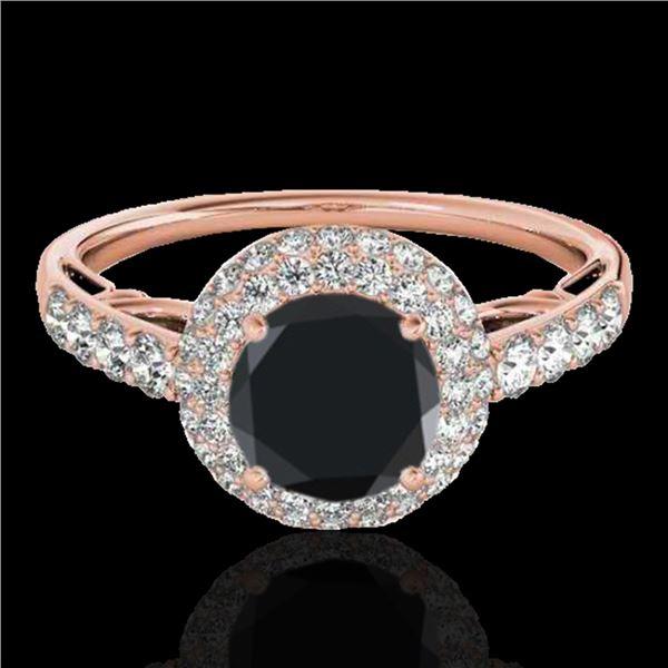 1.65 ctw Certified VS Black Diamond Solitaire Halo Ring 10k Rose Gold - REF-66K8Y