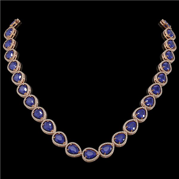 64.01 ctw Sapphire & Diamond Micro Pave Halo Necklace 10k Rose Gold - REF-733A5N