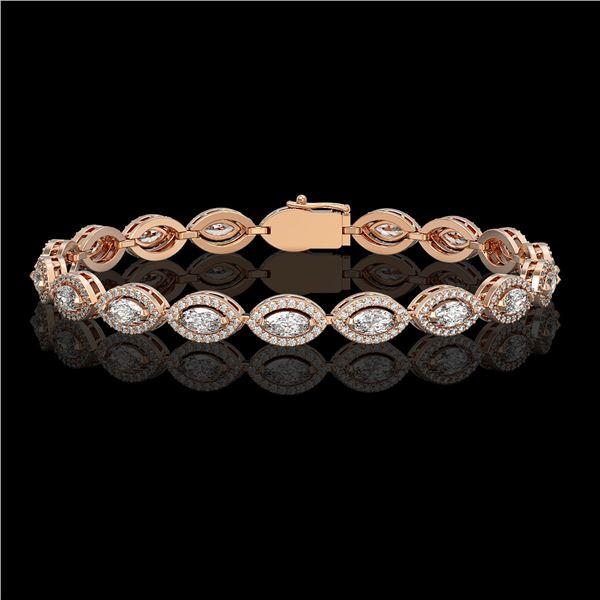 6.91 ctw Marquise Cut Diamond Micro Pave Bracelet 18K Rose Gold - REF-599N6F