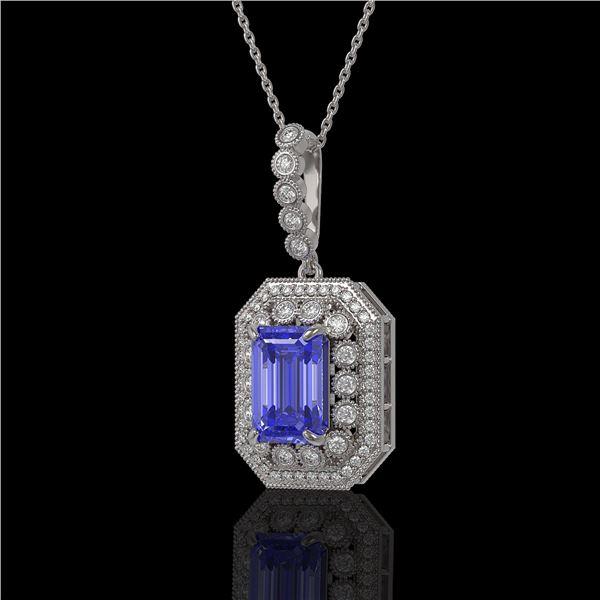 6.05 ctw Tanzanite & Diamond Victorian Necklace 14K White Gold - REF-309M3G