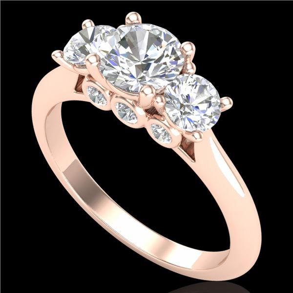 1.5 ctw VS/SI Diamond Solitaire Art Deco 3 Stone Ring 18k Rose Gold - REF-236Y4X