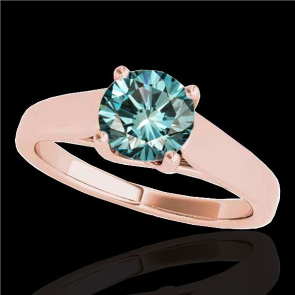 1.5 ctw SI Certified Fancy Blue Diamond Solitaire Ring 10k Rose Gold - REF-218N2F