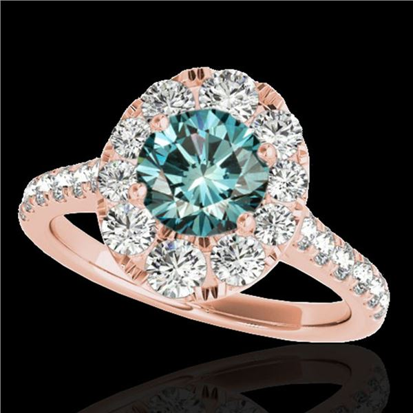 2 ctw SI Certified Blue Diamond Solitaire Halo Ring 10k Rose Gold - REF-158G2W
