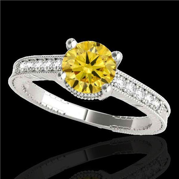 1.75 ctw Certified SI Intense Yellow Diamond Antique Ring 10k White Gold - REF-313G6W