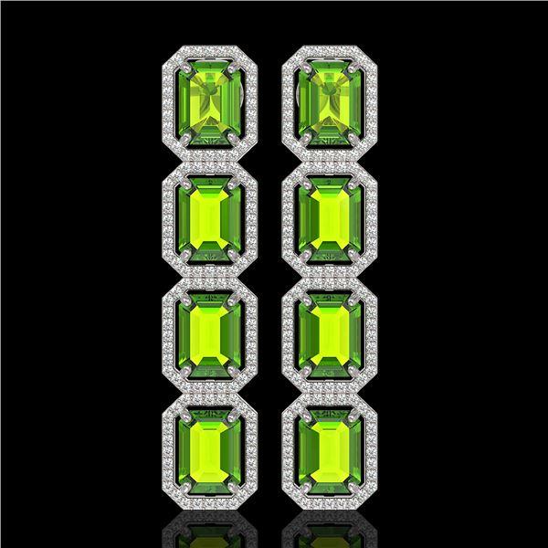 17.81 ctw Peridot & Diamond Micro Pave Halo Earrings 10k White Gold - REF-220K8Y