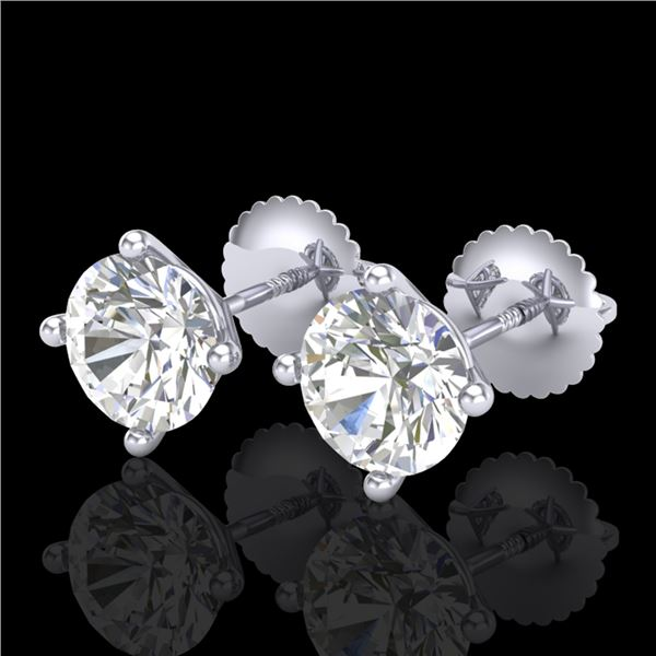 2 ctw VS/SI Diamond Solitaire Art Deco Stud Earrings 18k White Gold - REF-483H5R