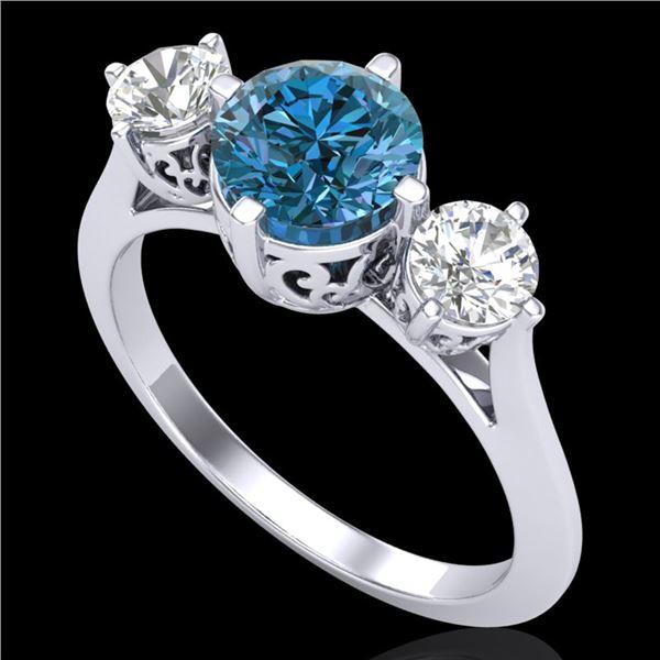 1.51 ctw Intense Blue Diamond Art Deco 3 Stone Ring 18k White Gold - REF-236F4M
