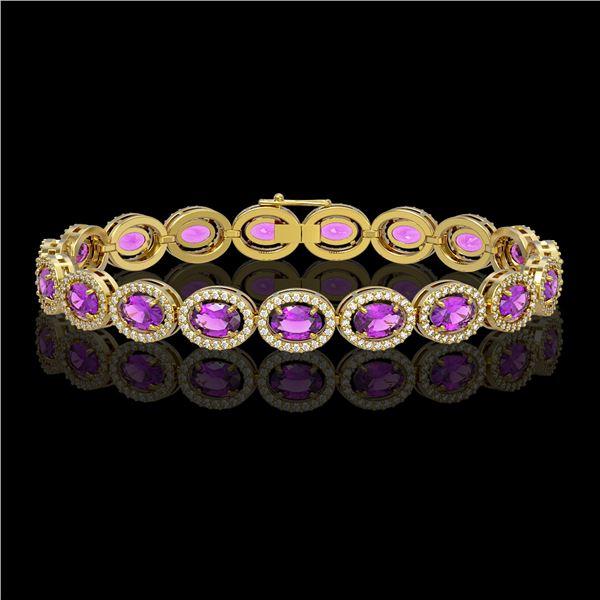 13.11 ctw Amethyst & Diamond Micro Pave Halo Bracelet 10k Yellow Gold - REF-263W6H