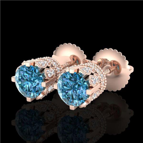 1.75 ctw Fancy Intense Blue Diamond Art Deco Earrings 18k Rose Gold - REF-172F8M