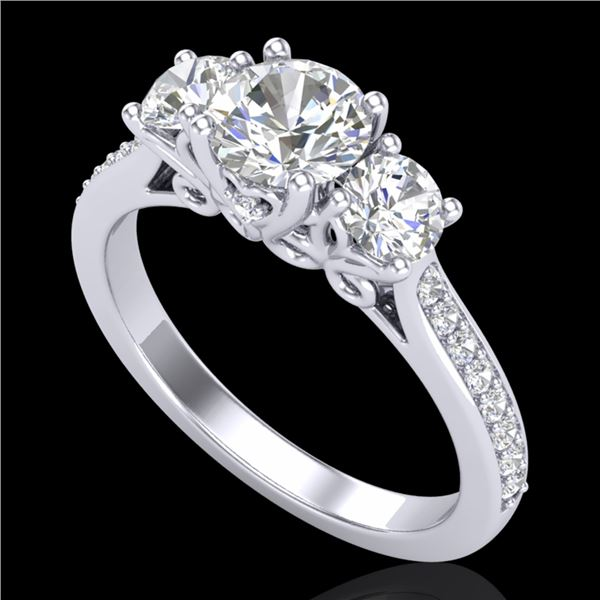 1.67 ctw VS/SI Diamond Solitaire Art Deco 3 Stone Ring 18k White Gold - REF-281M8G
