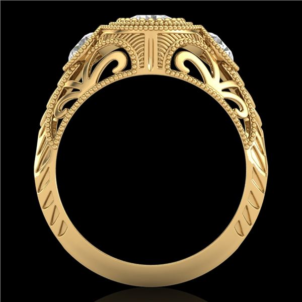 1.06 ctw VS/SI Diamond Solitaire Art Deco 3 Stone Ring 18k Yellow Gold - REF-180A2N